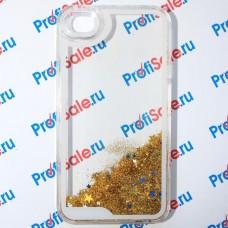 Чехол-переливашка пластиковый для iPhone 4/4S под полиграфическую вставку, прозрачный с блестками