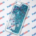 Чехол-переливашка пластиковый для iPhone 5/5S под полиграфическую вставку, прозрачный с блестками