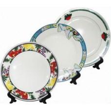 Тарелка керамическая белая для сублимации, диаметр 20,4 см, с подставкой