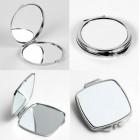 Зеркальце сублимационное, металлическое: квадрат, круг, сердце