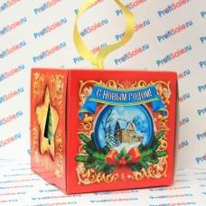 """Коробка новогодняя для кружек и елочных шаров """"Куб"""" с лентой, красная"""