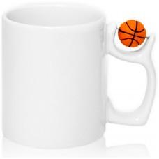 Кружка с баскетбольным мячом для сублимации, белая