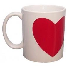 Кружка с красным сердцем для сублимации, белая