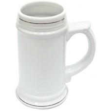 Кружка пивная, белая с золотым ободком