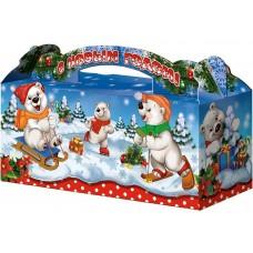 """Коробка-чемоданчик """"Белые медведи"""" для трех елочных шаров, синяя"""