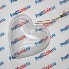 Ёлочный шар в форме сердца под полиграфическую вставку, 8 см