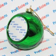 Ёлочный шар стеклянный с пластиной для сублимации, зеленый